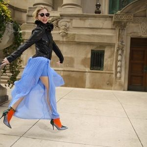 Zara periwinkle pleated Skirt